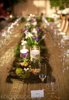 Moss runner with wheat grass and submerged floral Parties Decorations, Wedding Decorations, Table Decorations, Wedding Ideas, Table Arrangements, Floral Arrangements, Rectangle Table, Wheat Grass, Bar Mitzvah