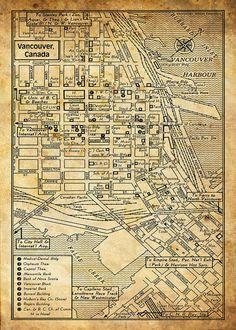 1949 Grunge Vintage Map of  Vancouver British Columbia 11x17 Print Poster