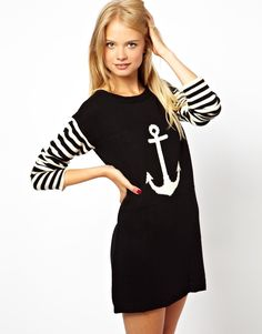 ASOS | ASOS Anchor Sweater Dress With Striped Sleeves at ASOS