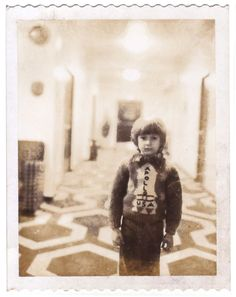 Continuity Polaroid of actor Danny Lloyd on the Guest Room Hallway set of The Shining.  (photo courtesy Filippo Ulivieri, who has written an Italian biography of Kubrick's longtime personal assistant Emilio D'Alessandro)