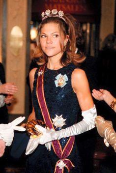Swedish Crown Princess Victoria wearing the Four Button tiara.