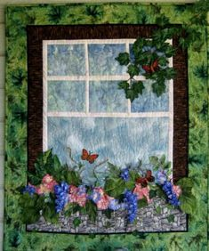 Flower Art Quilt with Window Box Three Dimensional Wall Hanging: I love everything about this quilt.