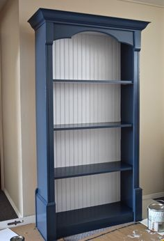 Blue Bookcase Navy Bookcase With Built In Bookcases bookcase, navy Blue Bookshelves, Painted Bookshelves, Built In Bookcase, Bookcase Plans, Barrister Bookcase, Small Bookcase, Bookcase Makeover, Furniture Makeover, Refurbished Furniture