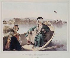 Τούρκος και νεαρός Έλληνας. Στο βάθος, τα ανάκτορα και το Κάστρο των Ιωαννίνων όπως φαίνονται από τη λίμνη