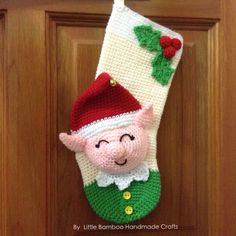 This is a DOWNLOADABLE PATTERN. Written in English using US terminology.  This Elf Christmas Stocking is the best Christmas decoration for