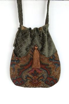 Sage Green Chenille and Tapestry Pocket Bag  Boho Bag  Tapestry Crossbody Purse Renaissance ag