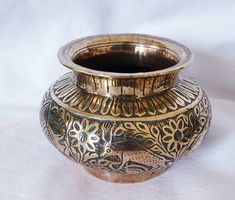 Excited to share this item from my #etsy shop: Vintage brass bowl, Indian water bowl, vintage ornament bowl.