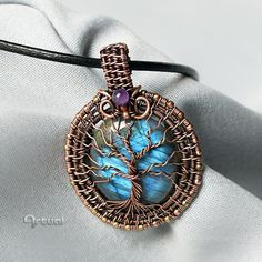 Tree of life pendant labradorite gemstone wire wrapped