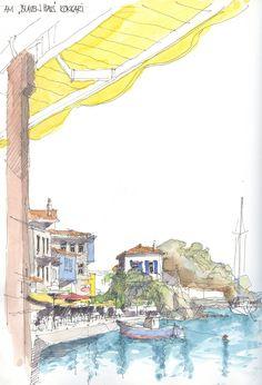 "am ""blauen Haus"" Kokkari, Samos, GR Pen And Watercolor, Watercolor Landscape, Watercolor Paintings, Watercolors, Samos, Deviantart Drawings, City Sketch, Artist Journal, Sketch Painting"