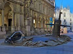 a massive submarine emerges in milan's city center - designboom | architecture
