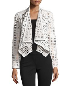 Draped Perforated Leather Jacket, White by Milly at Neiman Marcus Last Call.