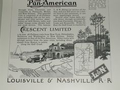 1926 Louisville Nashville RR Advertisement Crescent Limited.  Map detail.