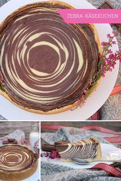 Zebra-Käsekuchen: Rezept für einen Käsekuchen mit Schokolade. Der Käsekuchen mit Zebramuster ist ein optisches Kuchen Highlight, aber leicht zu backen. Für das Cheesecake Rezept muss ein Teil der Cheesecake Füllung mit Kakao eingefärbt und anschließend mit der hellen Käsekuchen Füllung geschichtet werden. Der Zebrakuchen ist bei Kindern genauso beliebt wie bei Erwachsenen.