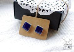 Square cutting ceramic / porcelain stud earrings - navy blue colour, porcelain jewellery, ceramic jewellery