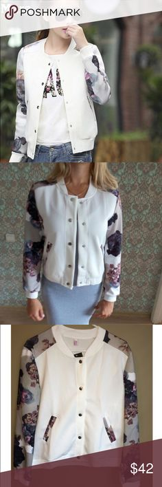 HP Floral Bomber Jacket Brand New Cute and Chic Floral Bomber. Women's size L and XL. Jackets list size 3xl and 2xl however run small and XL and L are the true US sizes. I have available measurements if needed. Jackets aren't Zara and don't list brand. Zara Jackets & Coats