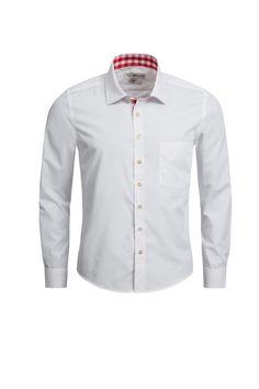 Trachtenhemd Slim Fit zweifarbig in Weiß und Rot von Almsach