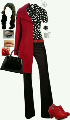 This would be so cute for work. I already have a red coat and black pants.... hm.