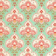 Printemps - Soft Floral Medallions - Mint Green