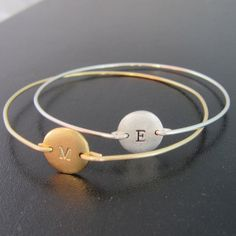 Personalized+Disc+Bracelet+Choose+Gold+Disc+by+FrostedWillow,+$18.00
