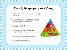 παρουσιαση μεσογειακης διατροφη 2011 Healthy Diet For Kids, Plastic Cutting Board, Nutrition, Teaching, Education, Food, Losing Weight, Essen, Meals