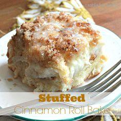 Cream Cheese Cinnamon Roll Casserole | Treat yourself to dessert for breakfast!