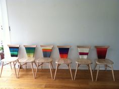 Colorful wool gives plain chairs a new twist. #chair #wool_projects