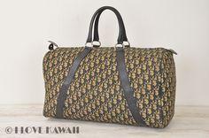 Christian Dior Beige Trotter Canvas / Navy Leather Travel Bag