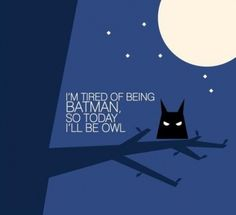 i'm tired of being batman so today i'll be owl