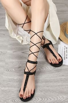 fc37c898ef42 Black Lace Up Bead Thong Flat Gladiator Sandals