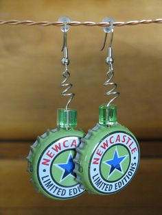 Beer Bottle Cap Earrings by Capapalooza on Etsy, $5.00. I feel like I should be able to make these!