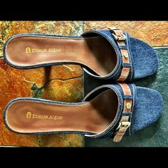 Size 7 1/2 leather&denim Etienne Aigner Never worn.  Would be cute with jeans or a dress.  Smoke free home. Etienne Aigner Shoes Sandals