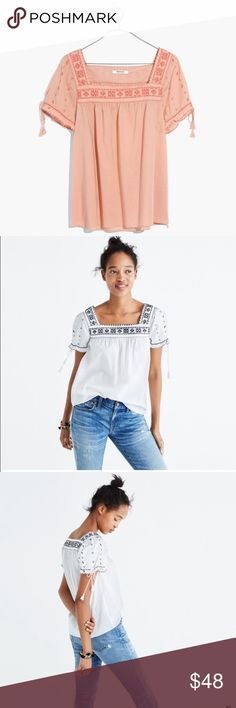 Madewell Embroidered La Villa Peasant Top *Brand new at Madewell*   *I am selling in the pink color*  A delicate cotton voile top with intricate cross-stitch embroidery inspired by a vintage peasant blouse. With swingy tassels on the sleeves, this one is made for your summer concert lineup.  - Brand new, never worn, with tags still on  - 100% Cotton - Machine Wash Madewell Tops Blouses