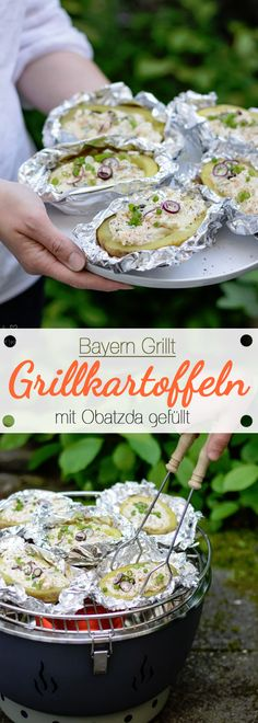 Bayern Grillt: Mit Obatzda gefüllte Grillkartoffeln Barbecue Recipes, Pork Recipes, Vegetarian Barbecue, Barbecue Ribs, Barbecue Chicken, Bbq Grill, Grilling Recipes, Veggie Bbq, Chicken Recipes