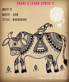 Kalamkari Painting, Madhubani Painting, Art Sketches, Art Drawings, Art Forms Of India, Cow Drawing, Madhubani Art, Indian Folk Art, Cow Painting