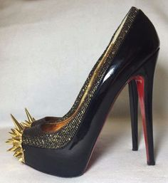 New Auth Christian Louboutin Limited Edition Gold Black Asteroid Pumps 39 5 | eBay