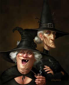 Nanny Ogg Granny Weatherwax by Loopydave on DeviantArt Discworld Characters, Discworld Books, Witch Characters, Witch Decor, Witch Art, Nanny Ogg, Endora Bewitched, Wyrd Sisters, Terry Pratchett Discworld