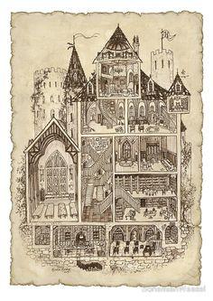 Magic School Hogwarts cross-section by BohemianWeasel