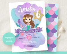 Mermaid Invitation. Little Mermaid Invitation. Mermaid Birthday Invitation. Mermaid Printable Party. Mermaid Birthday Party. #mermaid #invitation