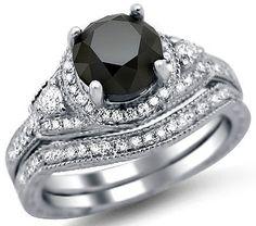 2.05ct Black Round Diamond Engagement Ring Bridal Set 14k White Gold