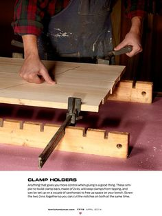 As the editor in chief at TFH, Ken has acquired a lot of workshop tips. Here are 18 of his best! Best Woodworking Tools, Woodworking For Kids, Woodworking Clamps, Woodworking Workshop, Woodworking Projects, Tool Room, Small Wood Projects, Got Wood, Handmade Table