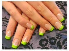 Lime Green French Manicured Tips for more findings pls visit www.pinterest.com/escherpescarves/