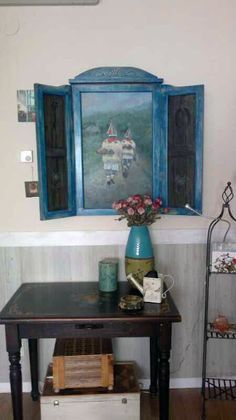Decoración rústica realizada con óleo y madera, por Rudi.