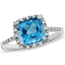Cushion-Cut Blue Topaz Ring
