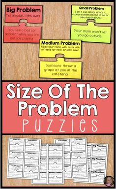 Size Of The Problem Puzzles For Social Problem Solving And Emotional Regulation Size Of The Problem Puzzles For Social Problem Solving And Emotional Regulation,Social Skills These size of the problem activities are a great. Social Skills Lessons, Social Skills Activities, Teaching Social Skills, Counseling Activities, Social Emotional Learning, Coping Skills, Teaching Art, Life Skills, Anger Management Activities For Kids