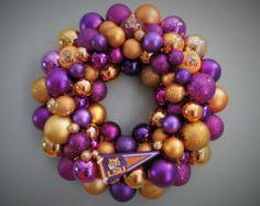 fd3f498d4 Reserved FSU Seminoles Ornament Wreath by dottiegray on Etsy Mardi Gras  Wreath, Mardi Gras Beads