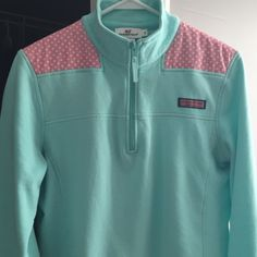 Vineyard Vines Shep Shirt Light blue Shep shirt. Pink shoulders with white polka dots. Worn multiple times but still in great condition Vineyard Vines Tops