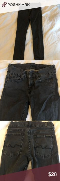 7 For All Mankind Jeans! Gently used, size 27 jeans. Charcoal/dark grey color and skinny fit. Runs a tad small but fabric has a nice stretch to it. 7 For All Mankind Jeans Skinny