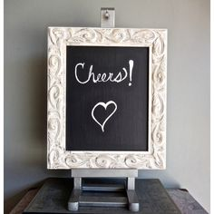 Chalkboard Easel Set/Wedding Decor/Shabby Chic/Up Cycled Ornate Carved... ($55) ❤ liked on Polyvore featuring home and home decor