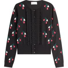 RED Valentino Wool Floral Knit Cardigan (11.590 CZK) ❤ liked on Polyvore featuring tops, cardigans, outerwear, black, knit cardigan, floral tops, button front cardigan, fitted tops and long sleeve knit cardigan
