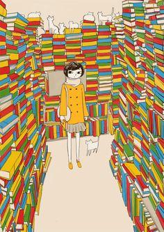 Between books and cats… in library / Entre libros y gatos… en la biblioteca (via nkym)